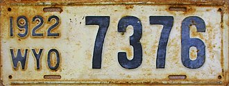 Vehicle registration plates of Wyoming - Image: 1922 Wyoming license plate