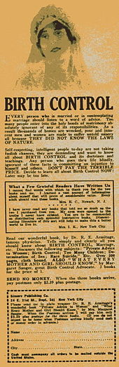 A newspaper advertisement selling birth control products. A woman's head is shown, with text underneath.