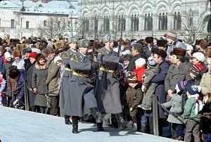 Kremlin Regiment - Soviet guard on their way from Lenin's mausoleum, 1990