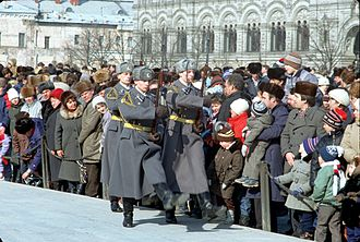 Kremlin Regiment - Soviet guard on their way from Lenin's mausoleum, 1990