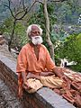 1 Sannyasi in yoga meditation on the Ganges, Rishikesh.jpg