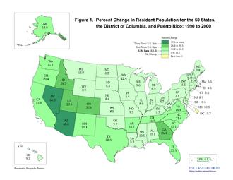 2000 United States Census - Image: 2000 census percent change