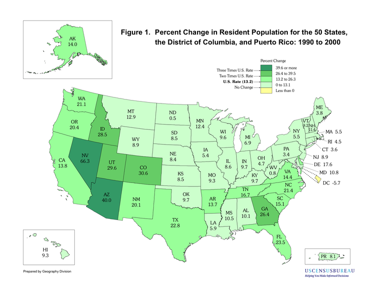 United States Census Wikipedia - Map of us population change 2000