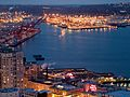 2005 Seattle harbor container port night.jpg