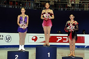2008 Four Continents Figure Skating Championships - The ladies' podium. From left: Joannie Rochette (2nd), Mao Asada (1st), Miki Ando (3rd).