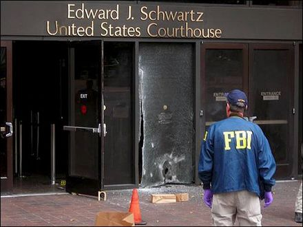 An FBI agent at a crime scene 2008 San Diego federal Courthouse bombing.jpg