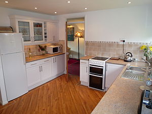 A fitted kitchen