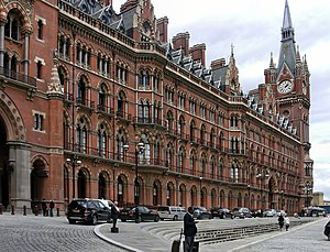London station group - The distinctive Gothic architecture of St Pancras railway station survived demolition, unlike several neighbouring stations.