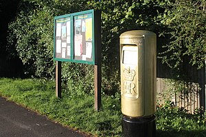 2012 Summer Paralympics - A post box outside the National Spinal Injuries Centre in Stoke Mandeville was painted gold in honour of the village's role in the history of the Paralympic movement.