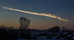Chelyabinsk meteor - A full view of the smoke trail with the bulbous section corresponding to a mushroom cloud's cap.