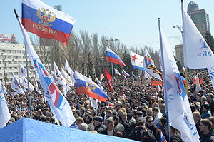 Separatist forces of the war in Donbass - Pro-Russian rally in Donetsk on April 6, 2014