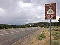 2014-08-11 11 08 21 Pony Express Auto Tour Route sign along westbound U.S. Route 50 about 25.0 miles east of the Eureka County line at Little Antelope Summit, Nevada.JPG