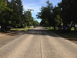 Road surface - A concrete road in Ewing, New Jersey.  The original pavement was laid in the 1950s and has not been significantly altered since.