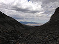2014-09-15 12 54 33 View down from the edge of the ice of Wheeler Peak Glacier in Great Basin National Park, Nevada.JPG