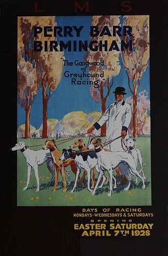 Greyhound racing in the United Kingdom - London, Midland and Scottish Railway poster advertising the opening of Perry Barr Greyhound Stadium in Birmingham, in April 1928.