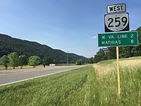 2016-06-26 17 22 11 View west along Virginia State Route 259 (Brocks Gap Road) at Virginia State Secondary Route 820 (Bergton Road) in northern Rockingham County, Virginia.jpg