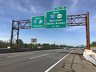 Edison, New Jersey - View south along the New Jersey Turnpike (I-95) at the interchange with I-287 and Route 440 in Edison