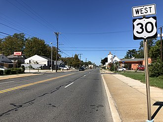 Egg Harbor City, New Jersey - U.S. Route 30 westbound in Egg Harbor City