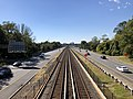 2018-10-23 13 09 56 View west along Interstate 66 and the Orange Line of the Washington Metro from the overpass for Virginia Lane (Virginia State Route 719) in Idylwood, Fairfax County, Virginia.jpg