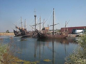 """Huelva - Pinta, Niña and Santa María ship docked in the """"Muelle de Carabelas"""" in Palos de la Frontera, Huelva"""