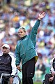 231000 - Athletics discus F34 final Hamish MacDonald waves - 3b - 2000 Sydney event photo.jpg