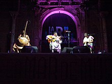 Sissoko (left) performing with 3MA during a concert in Cartagena, Spain.