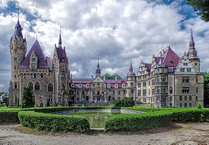 Moszna Castle - Frontal facade featuring neobaroque architectural styles.