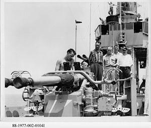 USS Block Island (CVE-106) - Thomas Hart Benton (wearing hat) on board the USS Block Island