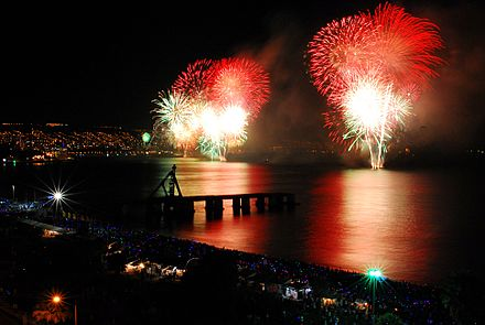 Over one million visitors crowd the streets and beaches of Valparaiso each New Year's Eve. Ano Nuevo Vina.jpg
