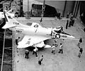 A-4C of VA-76 on elevator of USS Enterprise (CVAN-65) 1965.jpg