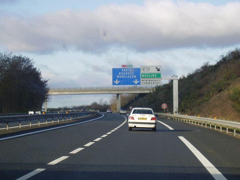 A71 motorway in Montmarault, Allier, Auvergne, France. (exit 11)