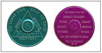 "Alcoholics Anonymous - Sobriety token or ""chip"", given for specified lengths of sobriety, on the back is the Serenity Prayer. Here green is for six months of sobriety; purple is for nine months."