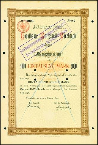 Regentalbahn - Share of the AG Localbahn Gotteszell-Viechtach, issued 1. January 1891