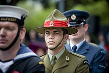 A soldier in a green army uniform faces forwards