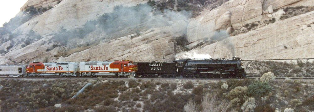 ATSF 3751, on its first trip after restoration, leads a train eastbound through Cajon Pass.