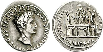 Arch of Augustus, Rome - Denarius with three-bayed arch, struck in Tarraco in 18 BCE.