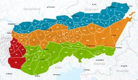 Carte des Alpes orientales avec les Alpes de Berchtesgaden en 10.