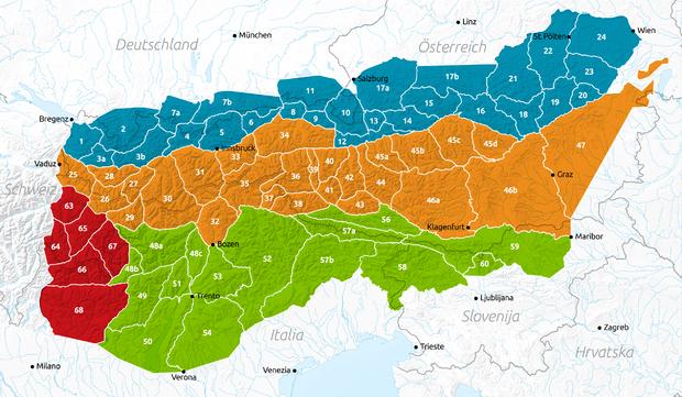 Le Alpi Giulie secondo l'AVE sono individuate dal numero 58.