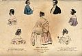 A boy and a fashionable young man above; five women wearing Wellcome V0019874.jpg
