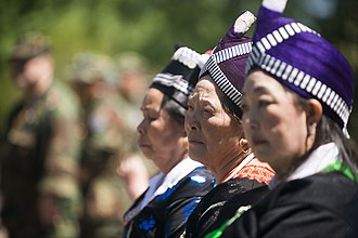Laos Memorial - Attendees listen to speakers during a ceremony honoring Hmong and Lao combat veterans and their American advisors.