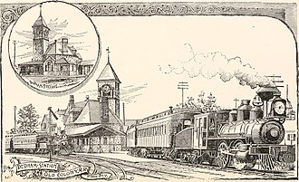 History of rail in Dedham, Massachusetts - The Dedham Train Station was located in Dedham Square where the parking lot now is.