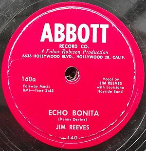 "Abbott Records - Jim Reeves on Abbott 160: ""Echo Bonita"""