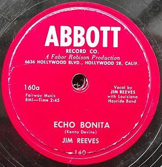 """Abbott Records - Jim Reeves on Abbott 160: """"Echo Bonita"""""""