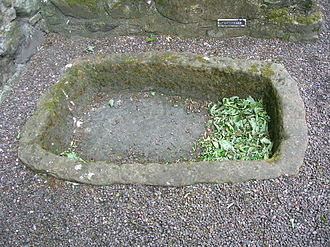 A dough trough, located in Aberdour Castle, once used for leavening bread. Aberdour Castle - Dough Trough.jpg