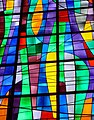 Abstract stained glass window in cathedral of St. Charles Borromeo in Ciudad Quesada.jpg