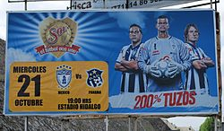 An ad can be seen promoting an association football match that involves Pachuca.