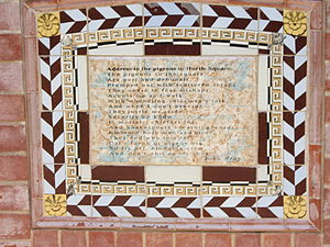 """John Jefferson Bray - """"Address to the pigeons in Hurtle Square,"""" a poem by Bray, features on a plinth in Hurtle Square, Adelaide, where he once lived"""