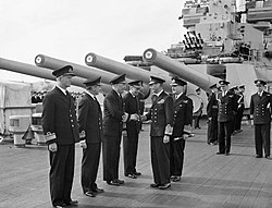 Admirals meet KG VI aboard HMS Duke of York 16-08-1943 IWM A 18577.jpg