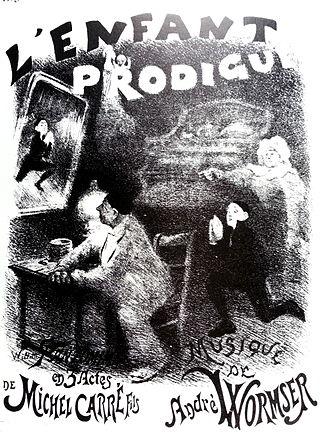 Cercle Funambulesque - Adolphe Willette: poster for pantomime L'Enfant prodigue (1890) by Michel Carré fils.  Reproduced in Ernest Maindron, Les Affiches illustrées (1886-1895) (Paris: Boudet, 1896).