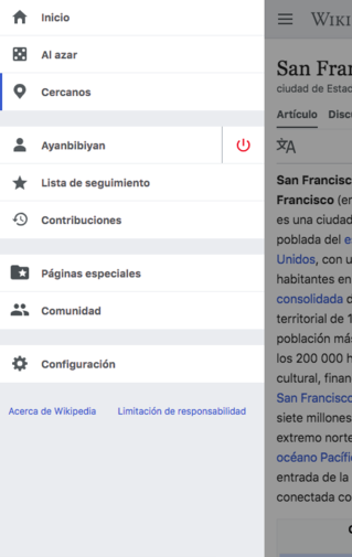 Screenshot of Advanced mobile contributions main menu updates on Spanish Wikipedia